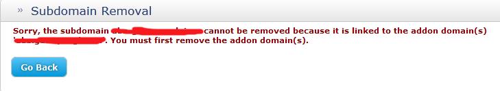 无法删除子域名
